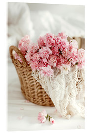 Akrylglastavla  Pink pastel flowers in wicker basket
