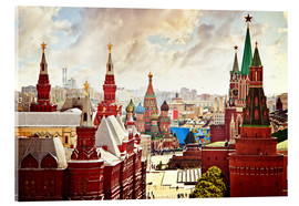 Akrylglastavla  Aerial view of the Kremlin in Red Square, Moscow