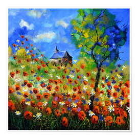 Premiumposter Poppy field with church