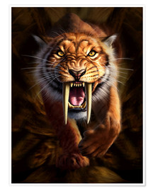 Premiumposter  Full on view of a Saber-toothed Tiger - Jerry LoFaro