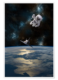 Poster  At astronaut drifting in space - Marc Ward