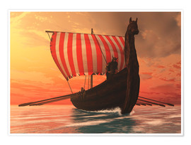 Premiumposter  A Viking longboat sails to new shores - Corey Ford
