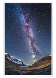 Premiumposter  Milky Way over the Columbia Icefields in Jasper National Park, Canada. - Alan Dyer
