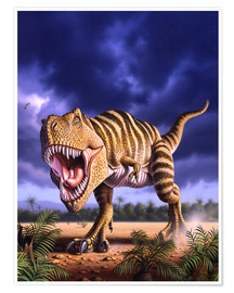 Premiumposter  A Tyrannosaurus Rex attacks, lit by the late afternoon sun. - Jerry LoFaro