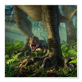 Premiumposter  A baby Tyrannosaurus Rex roars while safely standing between it's mother's legs. - Jerry LoFaro