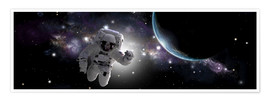 Premiumposter  Astronaut floating in outer space - Marc Ward