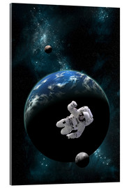 Akrylglastavla  An astronaut floating in front of a water covered world with two moons. - Marc Ward