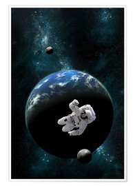 Premiumposter  An astronaut floating in front of a water covered world with two moons. - Marc Ward