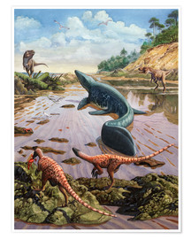 Premiumposter Raptors attack a vulnerable Mosasaurus that remained aground at low tide.