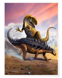 Poster Confronation between a Neovenator and a Polacanthus armored dinosaur.