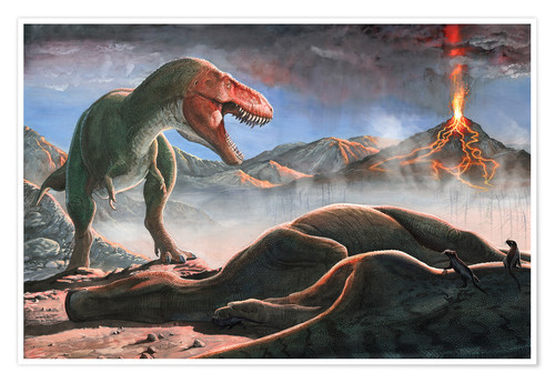 Premiumposter A volcanic eruption destroys the hunting grounds of Tyrannosaurus Rex.