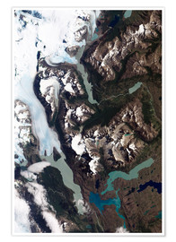 Premiumposter  View of grinding glaciers and granite peaks in Chile's Torres del Paine National Park.