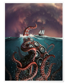 Premiumposter  A fantastical depiction of the legendary Kraken. - Jerry LoFaro
