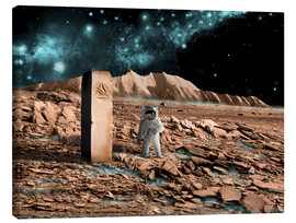 Canvastavla  Astronaut on an alien world discovers an artifact that indicates past intelligent life. - Marc Ward