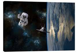 Canvastavla  An astronaut drifting in space is rescued by a space shuttle orbiting Earth. - Marc Ward
