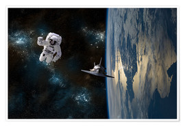 Premiumposter  An astronaut drifting in space is rescued by a space shuttle orbiting Earth. - Marc Ward