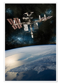 Premiumposter  Space shuttle docked at the International Space Station. - Marc Ward