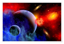 Premiumposter A mixture of colorful stars, planets, nebulae and galaxies