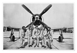 Premiumposter Test pilots in front of a P-47 Thunderbolt