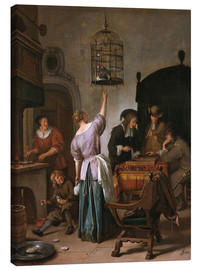 Canvastavla  Room with a woman and a parrot - Jan Havicksz. Steen