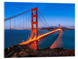 Akrylglastavla  Night shot of the Golden Gate Bridge in San Francisco California, USA - Jan Christopher Becke