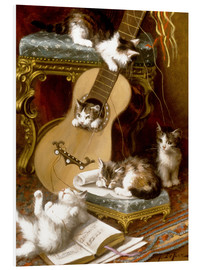 PVC-tavla  Kittens at play with a guitar - Jules Le Roy