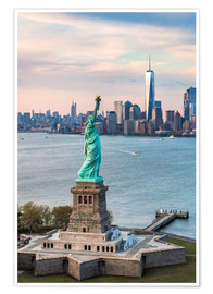 Premiumposter  Statue of Liberty and One World Trade Center - Matteo Colombo