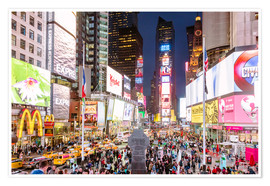 Premiumposter  Times square at night illuminated by neon lights, New York city, USA - Matteo Colombo