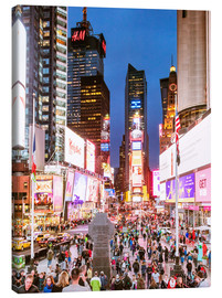 Canvastavla  Times square at night illuminated by neon lights, New York city, USA - Matteo Colombo