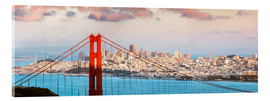 Akrylglastavla  Panoramic sunset over Golden gate bridge and San Francisco bay, California, USA - Matteo Colombo