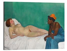 Aluminiumtavla  The White and the Black (La Blanche et la Noire) - Felix Edouard Vallotton
