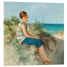 Akrylglastavla  Girl in the dunes by the North Sea beach on Sylt - Hermann Seeger
