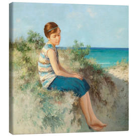 Canvastavla  Girl in the dunes by the North Sea beach on Sylt - Hermann Seeger
