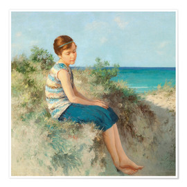 Premiumposter  Girl in the dunes by the North Sea beach on Sylt - Hermann Seeger