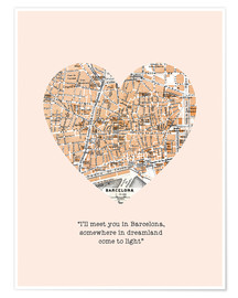 Premiumposter  I'll meet you in Barcelona - Romance Typo - Nory Glory Prints
