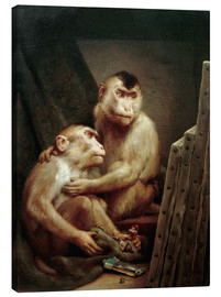 Canvastavla  The art critic - two monkeys look at a painting - Gabriel von Max