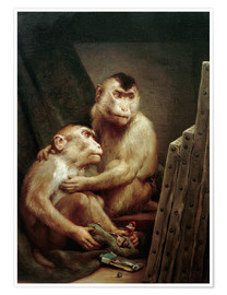 Premiumposter  The art critic - two monkeys look at a painting - Gabriel von Max