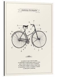 Aluminiumtavla  Vintage parts of a bicycle anatomy - Nory Glory Prints