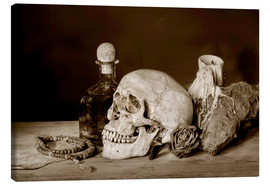 Canvastavla  Still Life - skull, ancient book, dry rose and candle