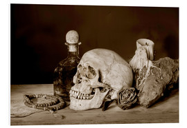 PVC-tavla  Still Life - skull, ancient book, dry rose and candle