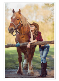 Premiumposter young cowgirl and horse