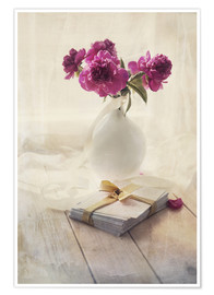 Premium poster Still life with pink peonies and love letters