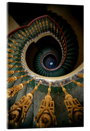 Akrylglastavla  Ornamented spiral staircase in green and yellow - Jaroslaw Blaminsky