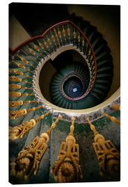 Canvastavla  Ornamented spiral staircase in green and yellow - Jaroslaw Blaminsky