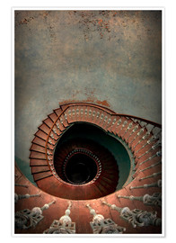 Premiumposter Spiral staircase in red