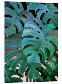 Akrylglastavla  Monstera Love in Teal and Emerald Green - Micklyn Le Feuvre