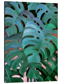 Aluminiumtavla  Monstera Love in Teal and Emerald Green - Micklyn Le Feuvre