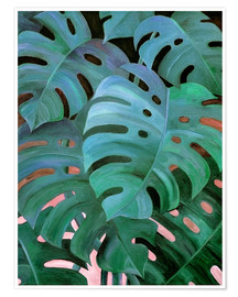 Premiumposter Monstera Love in Teal and Emerald Green