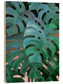 Trätavla  Monstera Love in Teal and Emerald Green - Micklyn Le Feuvre