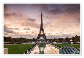 Premiumposter EIffel tower at sunset from the Trocadero, Paris, France
